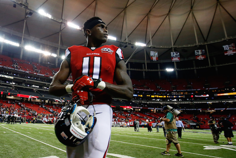 Julio Jones walks off the field.