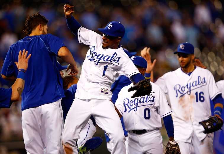 Jamie Squire/Getty ImagesKANSAS CITY, MO - SEPTEMBER 02: Jarrod Dyson #1 of the Kansas City Royals is congratulated by Eric Hosmer #35 after tthe Royals defeated the Detroit Tigers 12-1 to win the game against the Detroit Tigers at Kauffman Stadium on September 2, 2015 in Kansas City, Missouri. (Photo by Jamie Squire/Getty Images)
