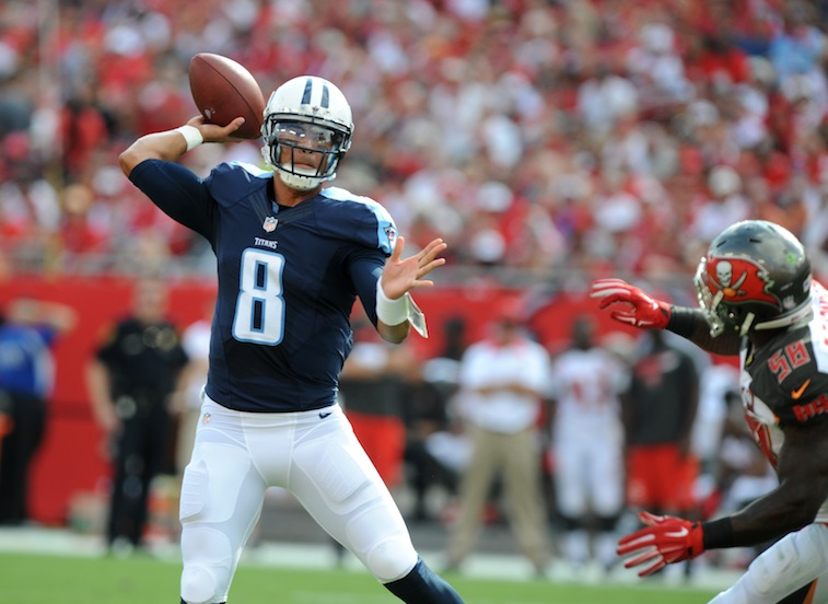 Marcus Mariota throws against the Buccaneers