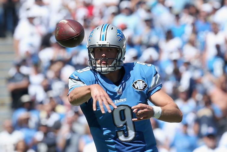 Quarterback Matthew Stafford of the Detroit Lions looks to pass.