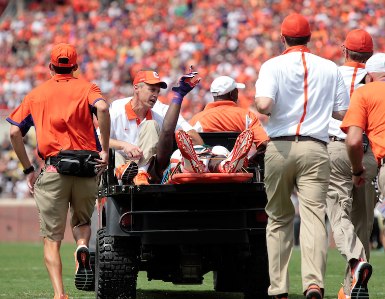 Mike Williams acknowledges crowd while being carted off the field following his injury