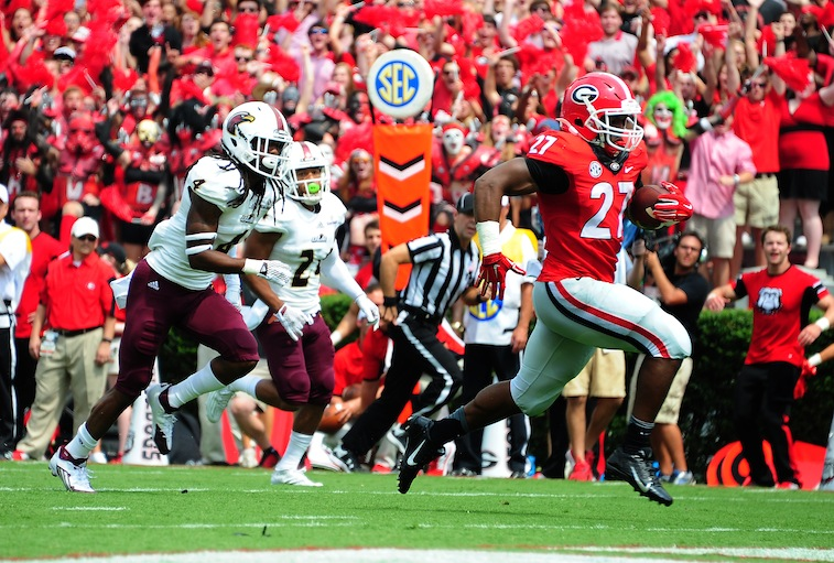 Nick Chubb runs for a touchdown against Louisiana Monroe
