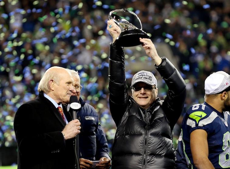 Paul Allen celebrates the Seahawks NFC Championship win