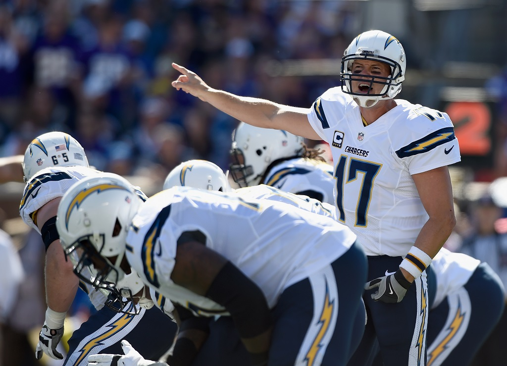 MINNEAPOLIS, MN - SEPTEMBER 27: Philip Rivers #17 of the San Diego Chargers calls a play at the line of scrimmage against the Minnesota Vikings during the first quarter of the game on September 27, 2015 at TCF Bank Stadium in Minneapolis, Minnesota. (Photo by )