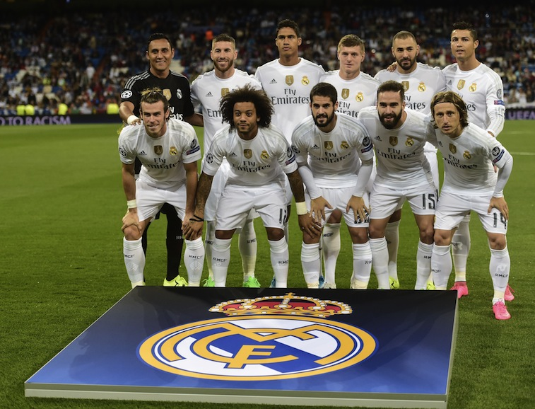 Real Madrid pose for a picture ahead of their Champions League clash