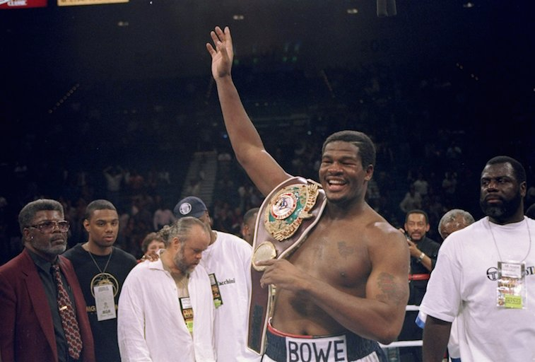 Riddick Bowe celebrates a win