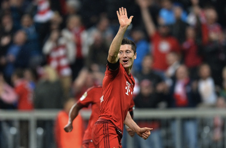 Robert Lewandowski celebrates after his fifth goal for Bayern Munich