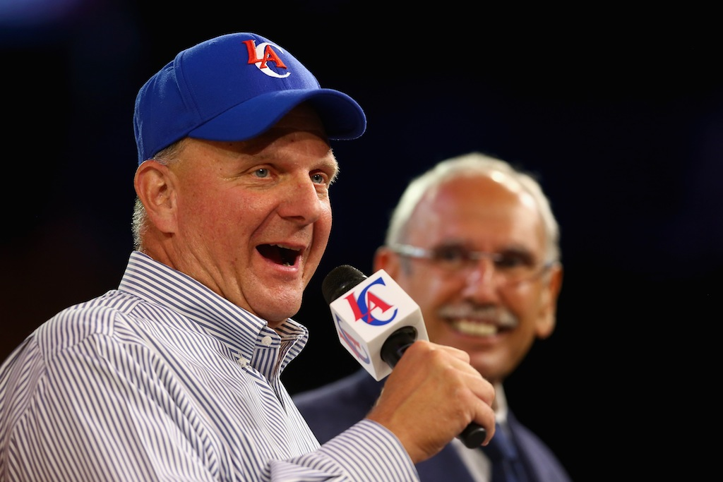 Los Angeles Clippers owner Steve Ballmer addresses the fans