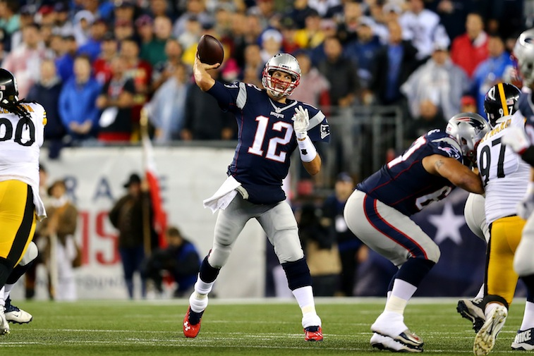 Tom Brady throws against the Pittsburgh Steelers