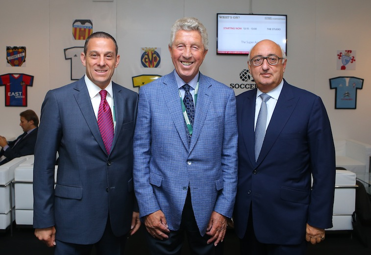 L-R, Executive VP of Wasserman Media Group Richard Motzkin, Football Agent Dennis Roach, and Jonathan Barnett owner of the Stellar Group during day four of the Soccerex Global Convention at Manchester Central