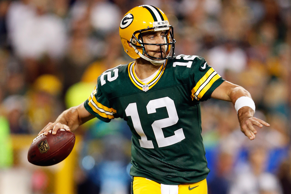 Aaron Rodgers looks to pass against the Seahawks