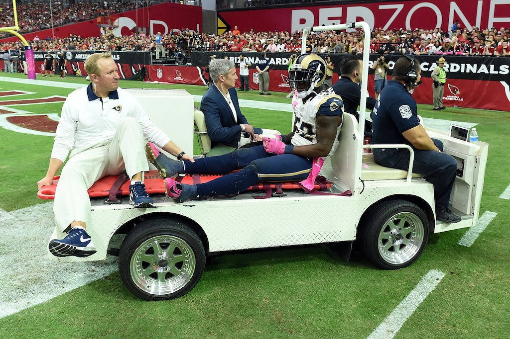 Alec Ogletree is carted off the field