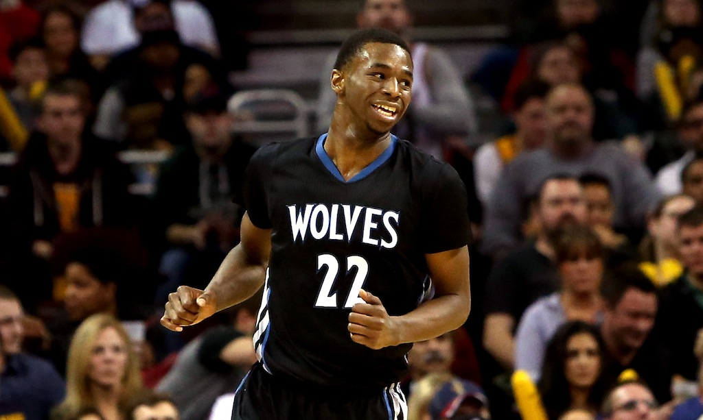 Andrew Wiggins during a game against the Cavs