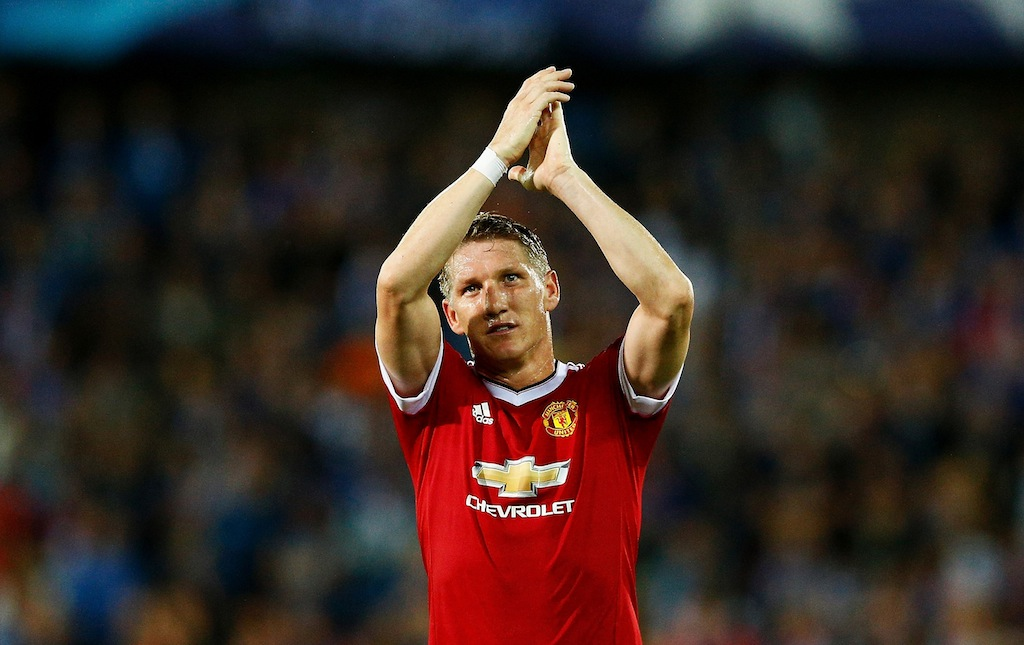 Bastian Schweinsteiger of Manchester United celebrates after a Champions League qualifier