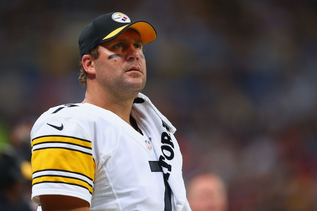 Ben Roethlisberger looks on from the sidelines