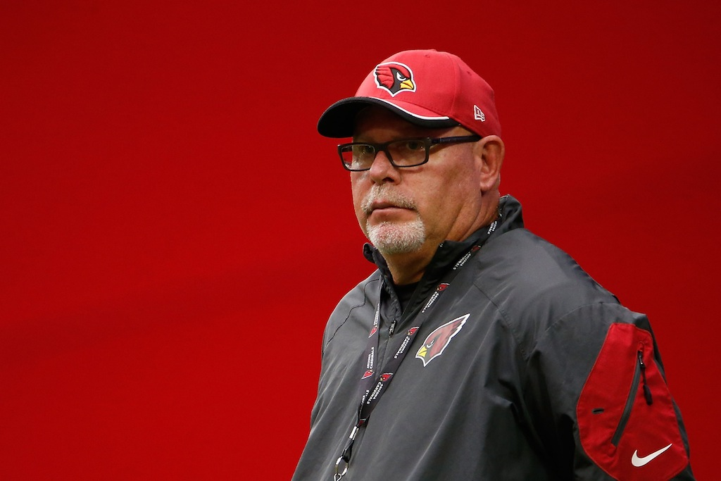 Bruce Arians looks on during the Cardinals training camp