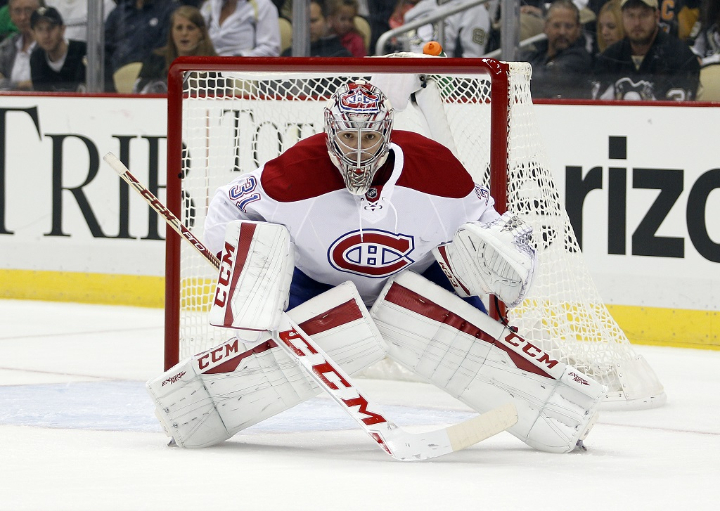 PITTSBURGH, PA - OCTOBER 13:  Carey Price #31 of the Montreal Canadiens in action during the game against the Pittsburgh Penguins at Consol Energy Center on October 13, 2015 in Pittsburgh, Pennsylvania.