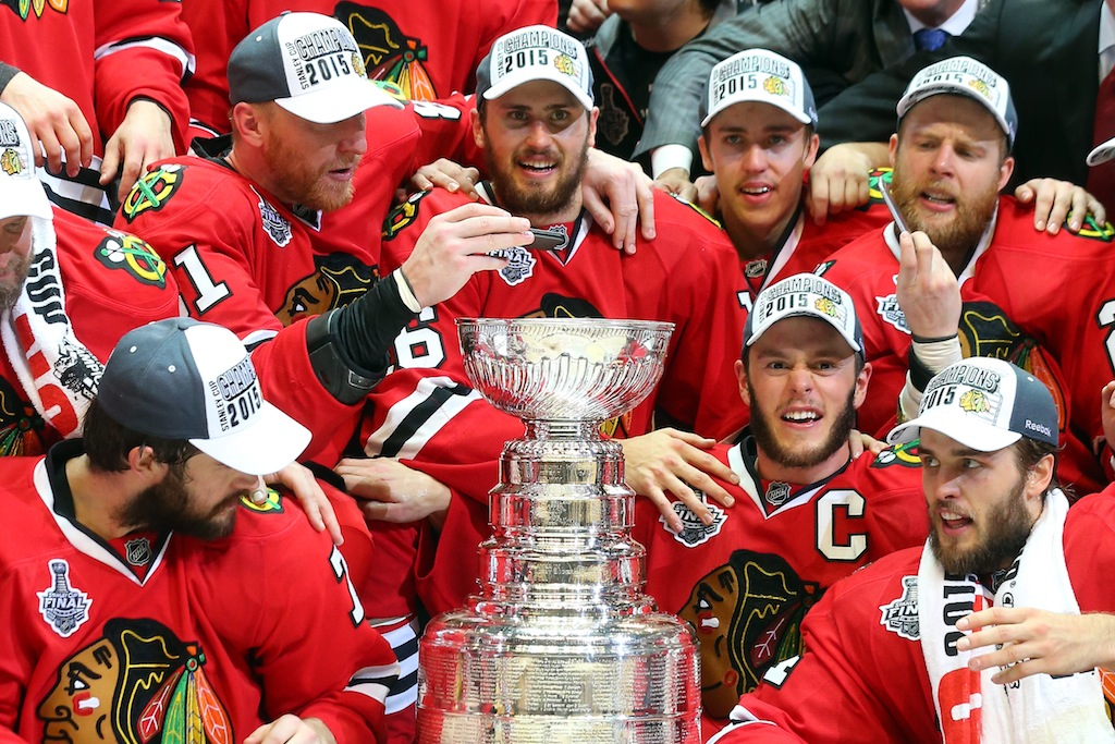 Chicago Blackhawks celebrate winning the Stanley Cup