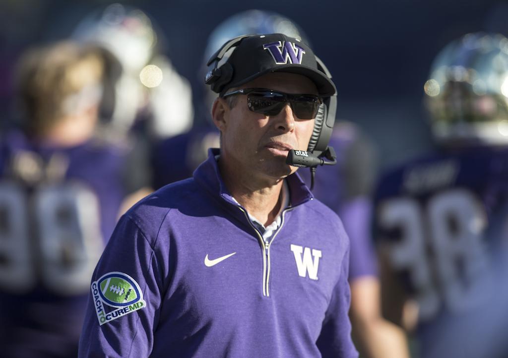 Washington coach Chris Petersen during a game against Cal