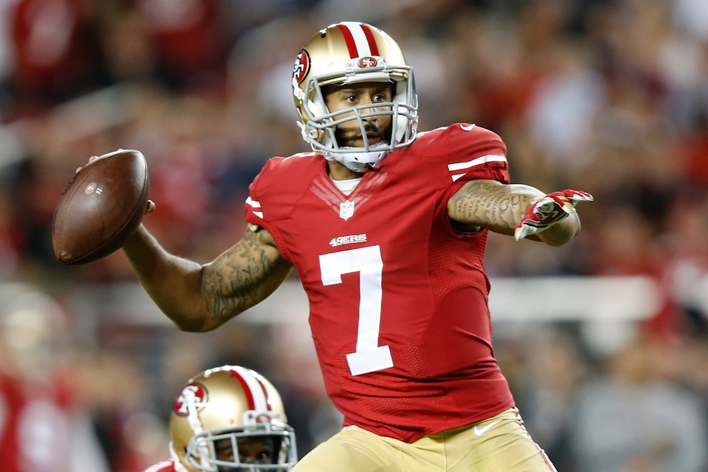 Colin Kaepernick throws the ball against Seattle
