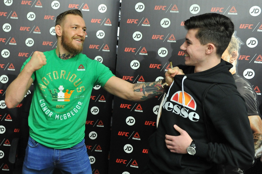 DUBLIN, IRELAND - OCTOBER 22: Conor McGregor meets fans at a Reebok UFC Combat Gear retail event held at JD Sports on October 22, 2015 in Dublin, Ireland..