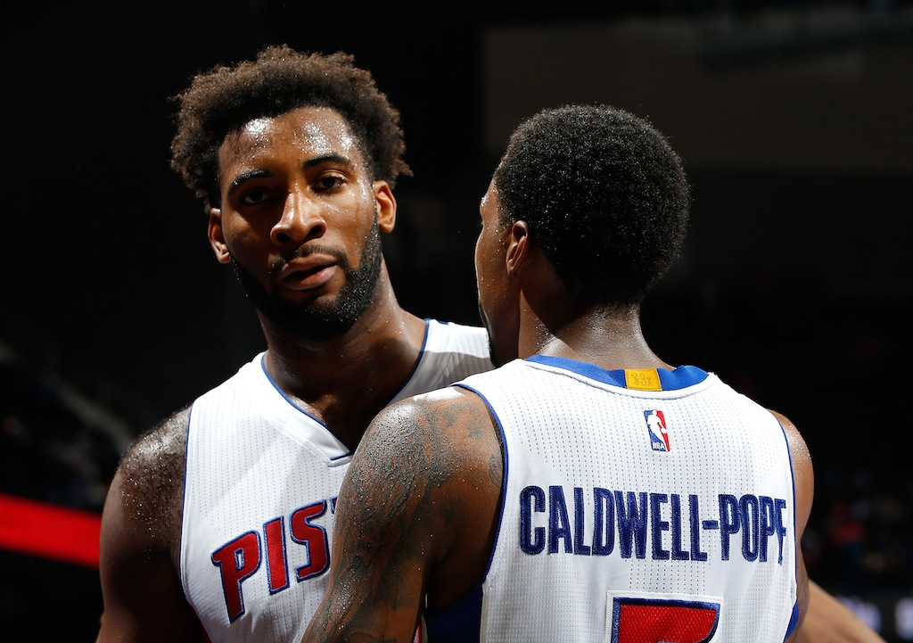 Drummond and Caldwell-Pope celebrate the Pistons win