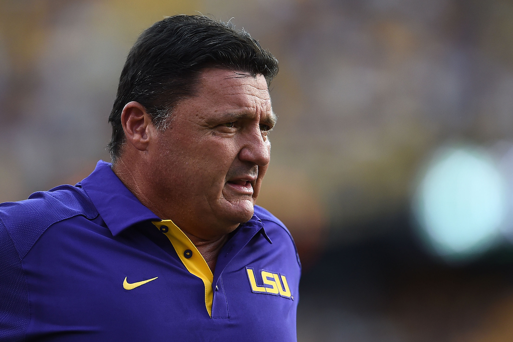 Ed Orgeron looks on before the start of an LSU game