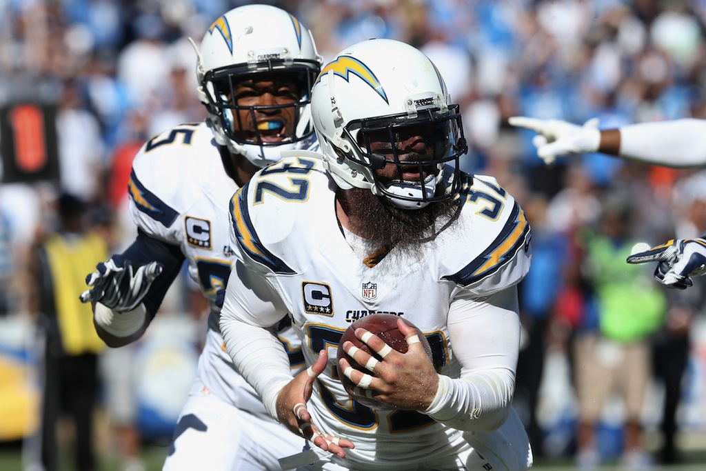Eric Weddle #32 recovers a fumble