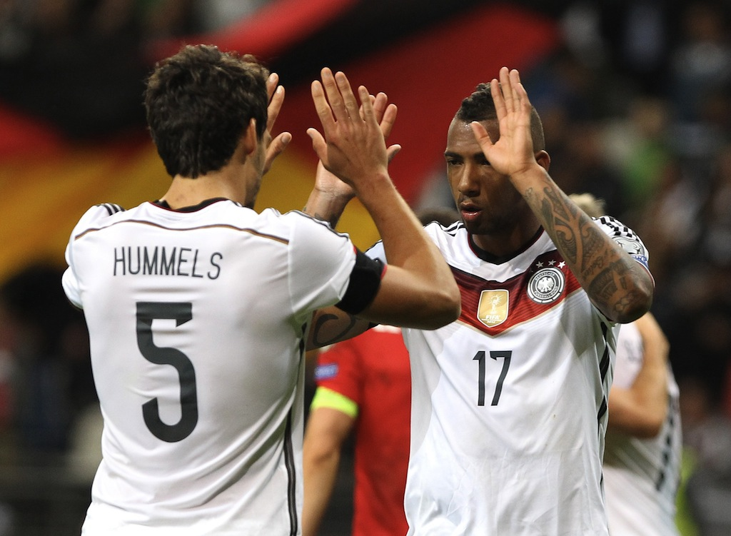 Germany celebrate a victory in the Euro 2016 qualifying