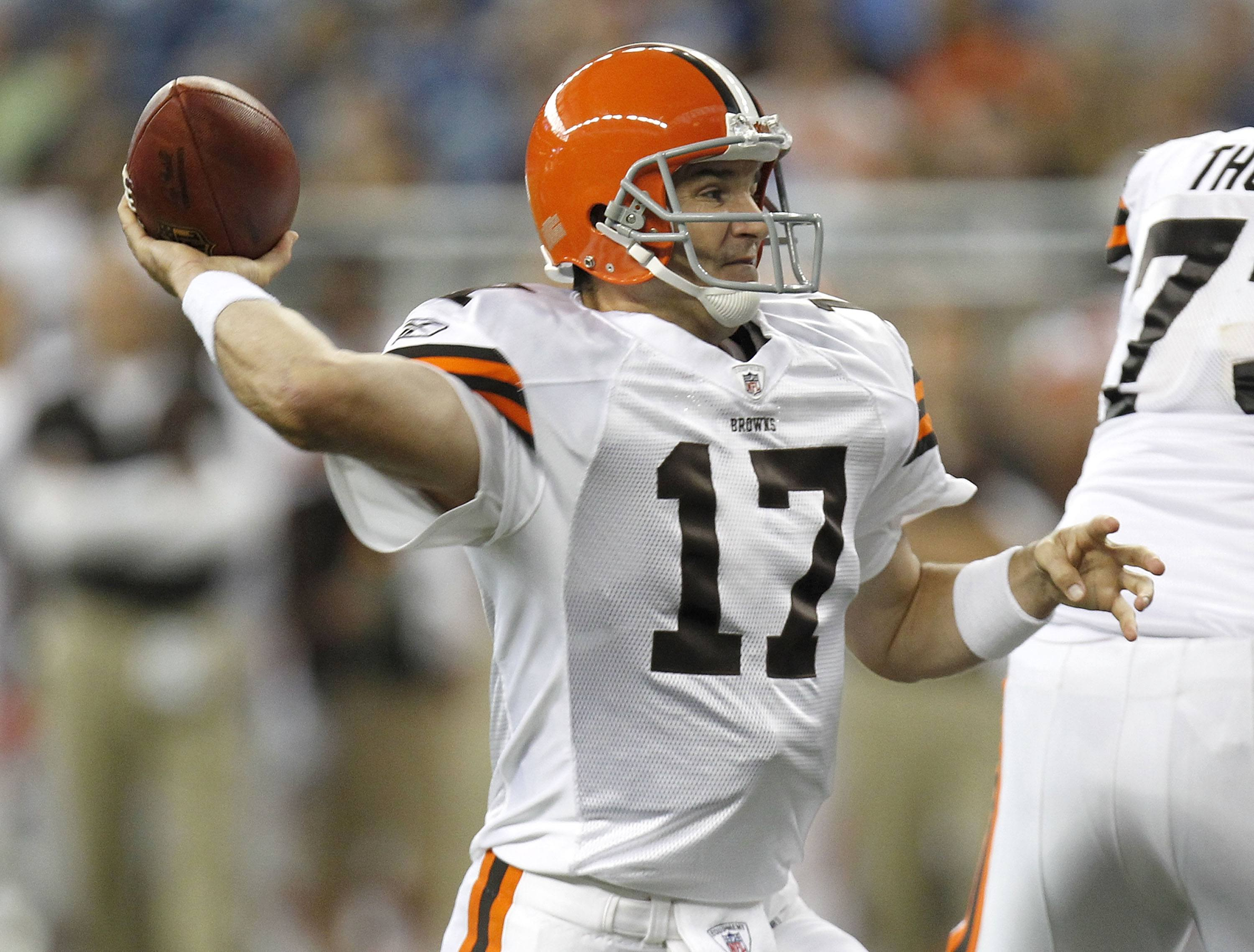 Jake Delhomme of the Cleveland Browns throws a first quarter pass.