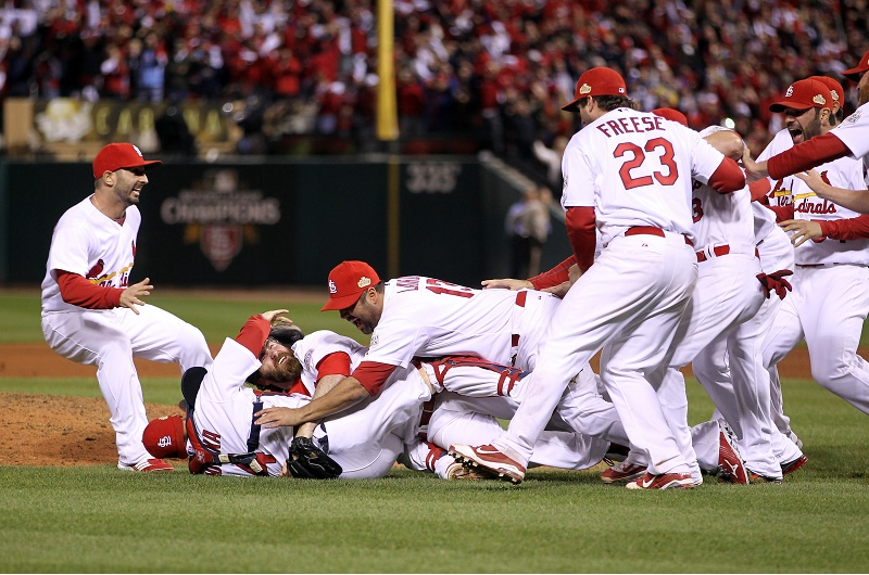 The St. Louis Cardinals celebrate winning Game 7 of the World Series.