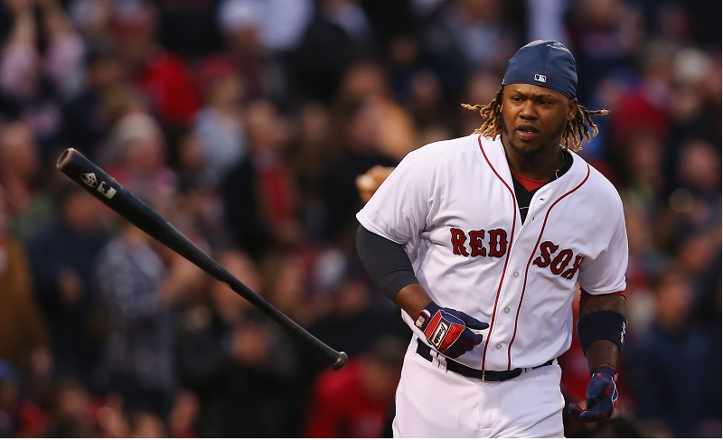 Hanley Ramirez of the Boston Red Sox runs to first base.