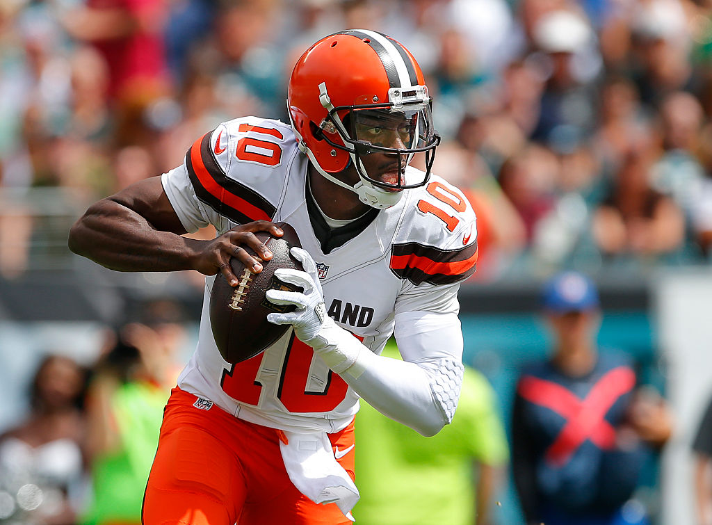 Quarterback Robert Griffin III of the Cleveland Browns looks to pass against the Philadelphia Eagles.
