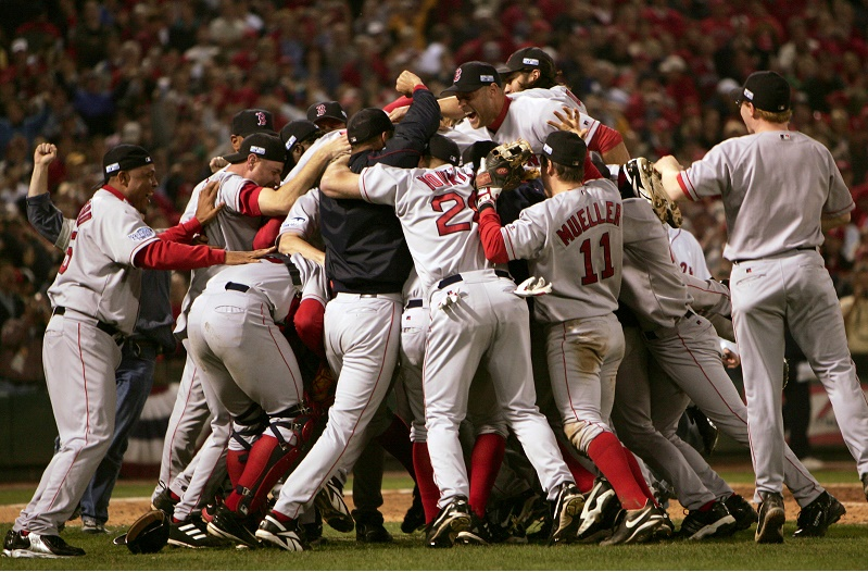 The Boston Red Sox celebrate coming out as the 2004 World Series winner