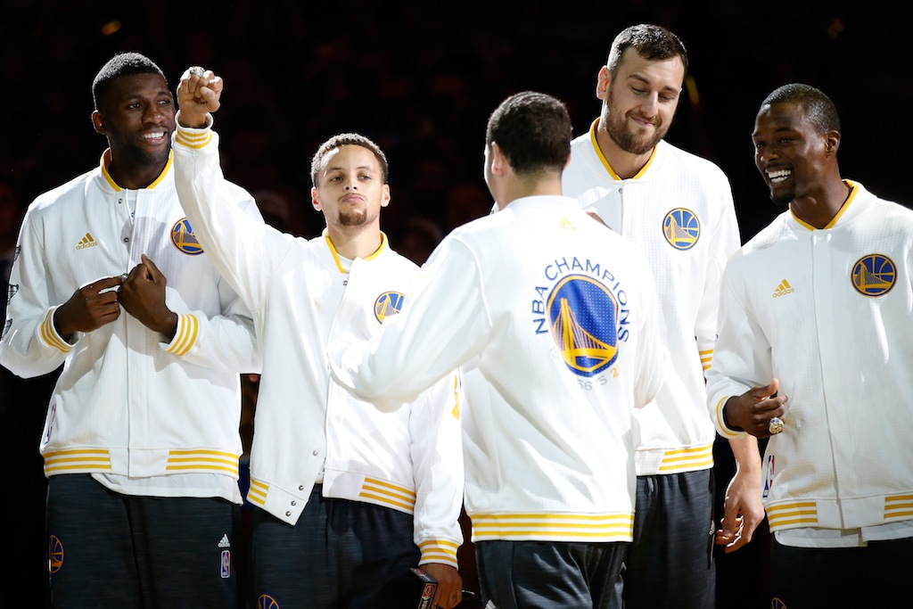 Golden State Warriors celebrate receiving their championship rings