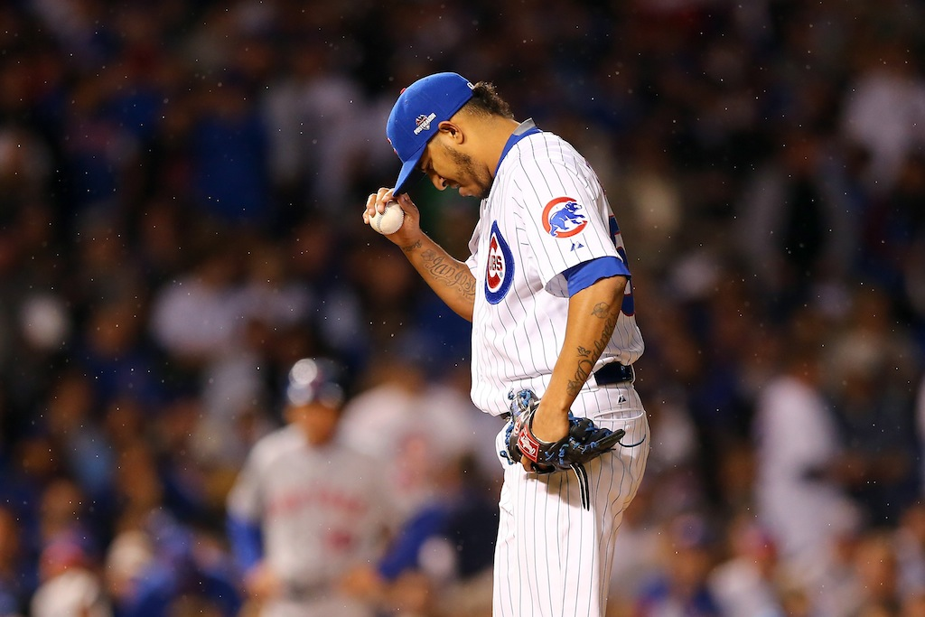 Hector Rondon prepares to pitch the ninth inning in Game 3 of the NLCS