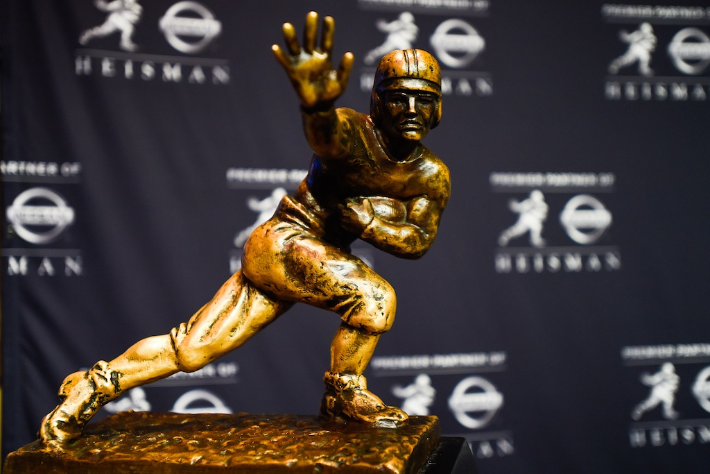 The Heisman Trophy sitting on a stand