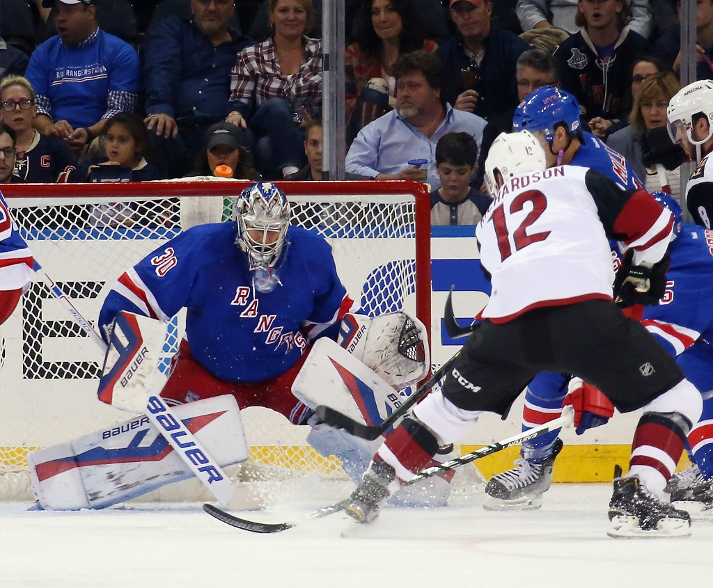 skates against the New York Rangers at Madison Square Garden on October 22, 2015 in New York City. The Rangers defeated the Coyotes 4-1.