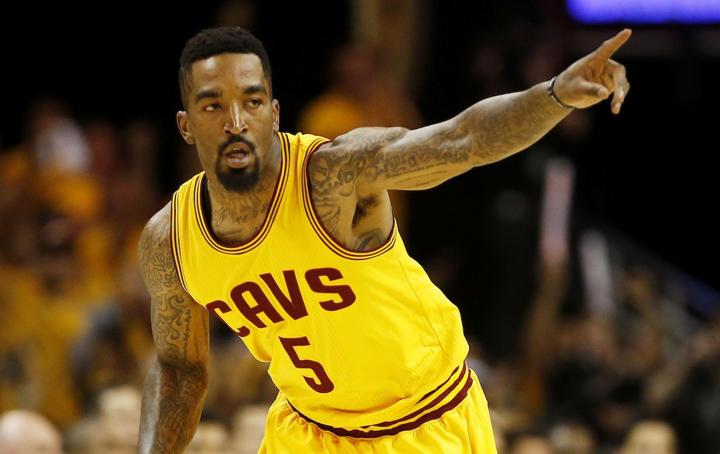 J.R. Smith reacts during the Eastern Conference Finals