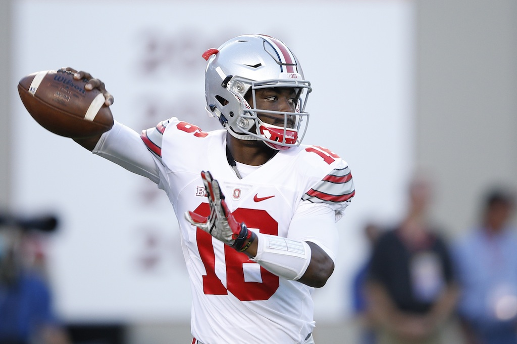 J.T. Barrett warms up prior to a game against Virginia Tech