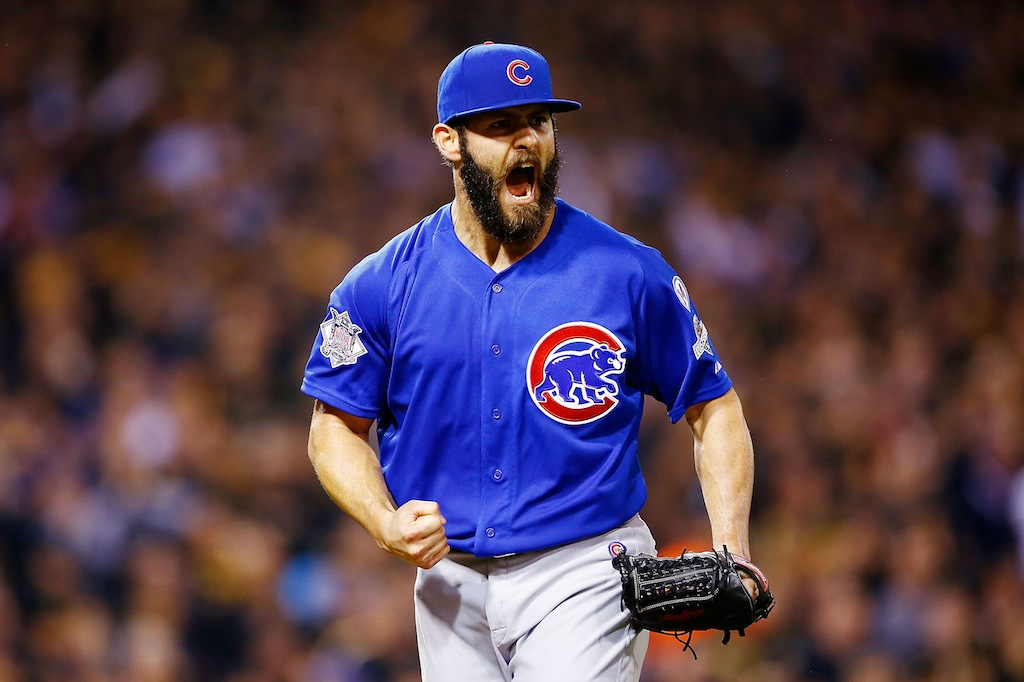 Jake Arrieta reacts after a double play during the NL Wild Card game