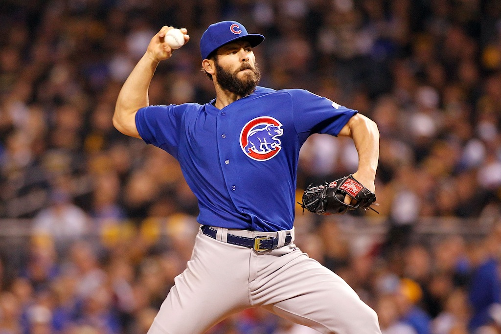Jake Arrieta throws a pitch during the sixth inning of the NL Wild Card game