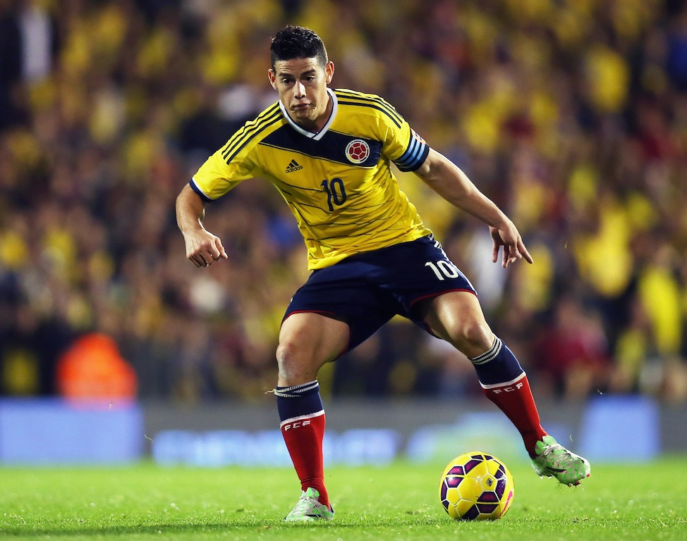 James Rodriguez of Colombia dribbles the ball