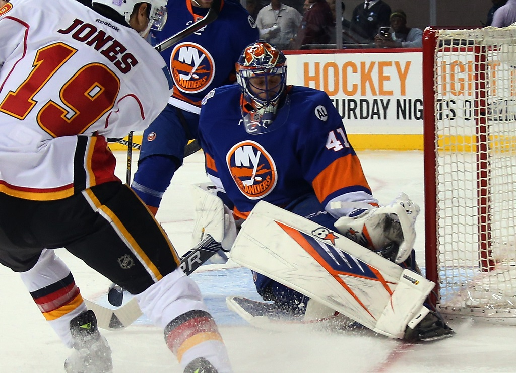 skates against the Calgary Flames at the Barclays Center on October 26, 2015 in the Brooklyn borough of New York City. The Islanders shut out the Flames 4-0.