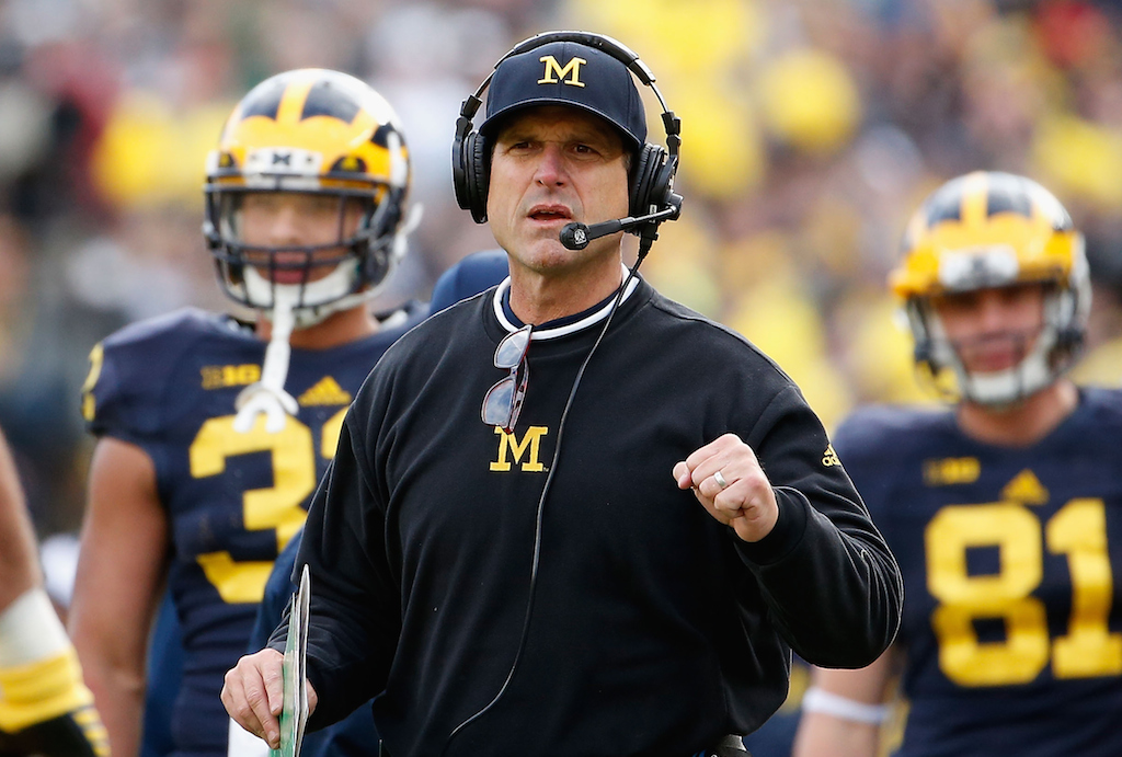 Jim Harbaugh coaching Michigan against Michigan State