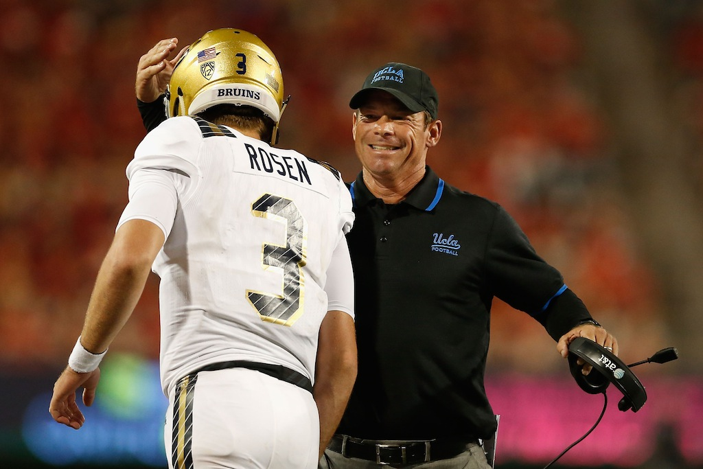 UCLA coach Jim Mora congratulates quarterback Josh Rosen