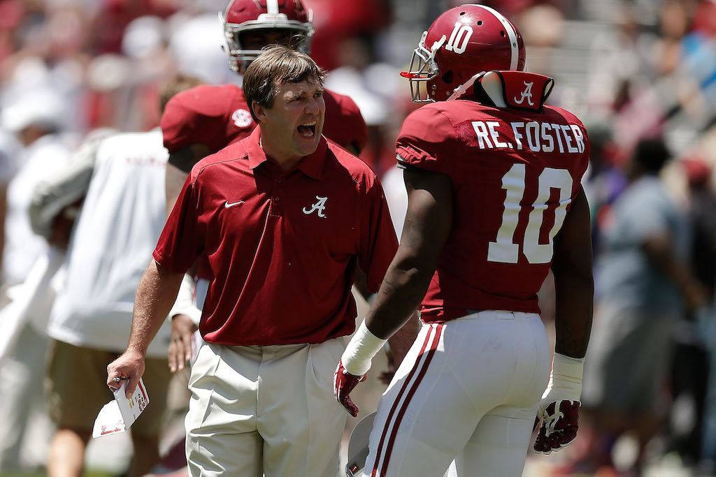 Kirby Smart gets animated at Alabama's Spring Game