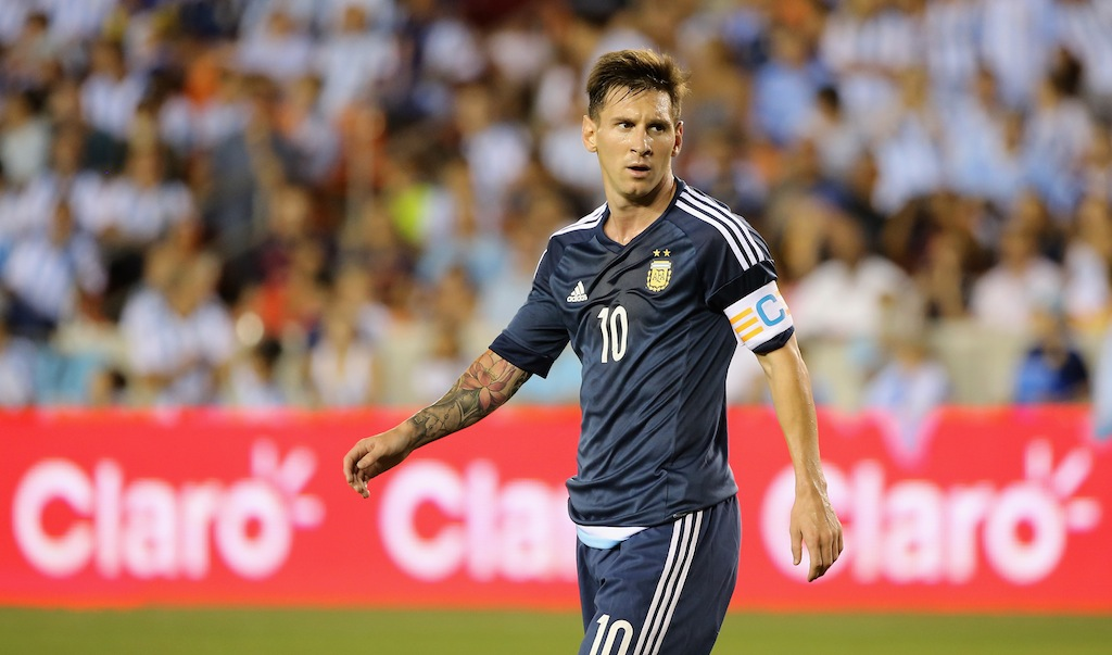 Lionel Messi looks on during a friendly