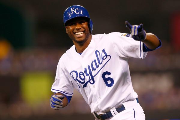 Lorenzo Cain celebrates a home run as he runs the plates.