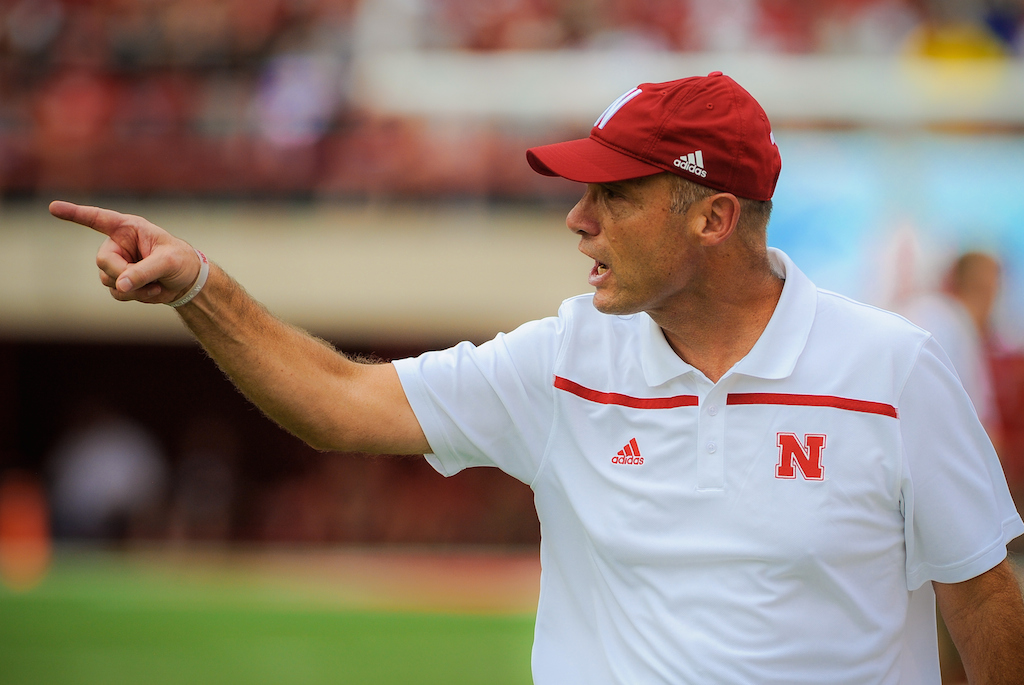 Mike Riley coaching Nebraska against BYU
